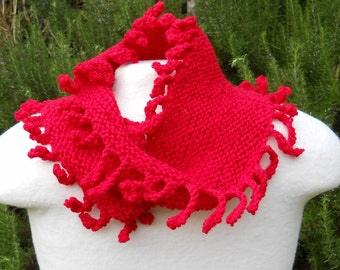 hand knit red wool fringed mobius cowl