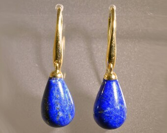 Earrings with beads of lapis lazuli