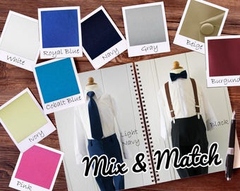 Mix and Match Colors Baby to Boys Pants, Shirt, Tie, Bowtie, Suspender