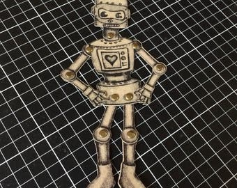 Articulated Robot bookmark paper doll