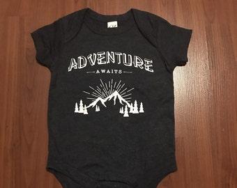 Adventure Awaits Charcoal baby onsie