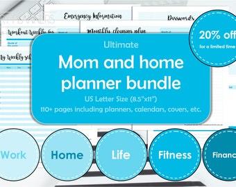 Mom binder, house planner bundle, printable. Home management binder, US Letter size. Family, Life, Fitness & Finance planners. Blue. 20% OFF