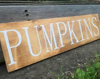 CLEARANCE, Ready to Ship, PUMPKINS, Stained Sign, Rustic Wooden Sign, Farmhouse Decor, 5.5 x 20