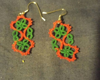 Beautiful red and green tatted long earrings