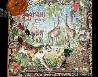 Pre-made 8 x 8 Scrapbook Album-Safari Adventure
