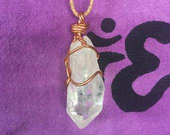 Raw Clear Crystal Quartz Necklace   Quartz Long Necklace   Copper Wire Wrap Quartz Necklace