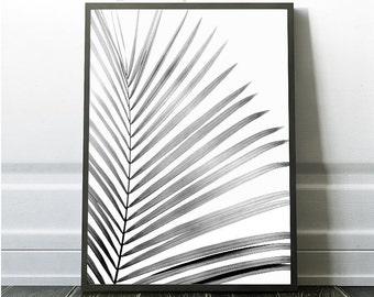 Palm Leaf Prints, Instant Art, Minimalist Leaf Print, Grey Leaf Print, Tropical Leaf Art, Palm Leaf Print, Trending Art,Grey Nature Art
