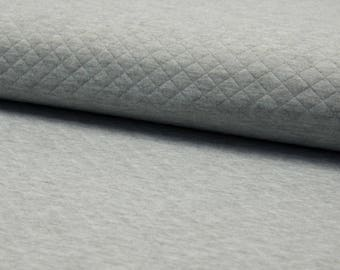 Quilted Jersey grey flecked quilt fabric by the metre small diamonds 0, 50 m