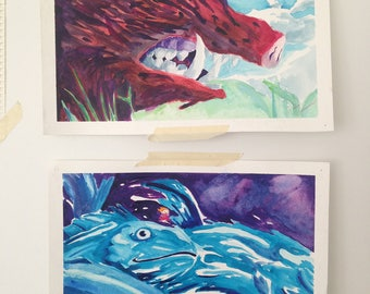 Studio Ghibli Ponyo and Princess Mononoke Scenes Watercolor Prints