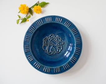 Michael Andersen & Son - Blue Plate/Dish/Wall Hanging with Motif - 1970s - Danish Midcentury
