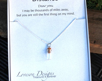 Distance Pendant,  Time in a Bottle, Personalized Pendant, Long Distance Pendant,  Never Too Far Necklace, Missing you necklace