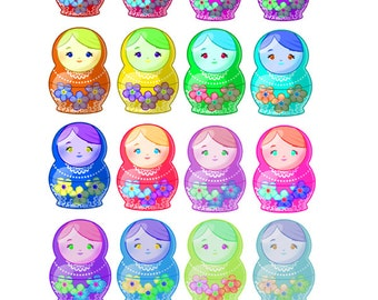 Matryoshka Dolls - Oh-So-Cute! - Perfect for any Paper Craft - Gorgeous Matryoshka Stickers at a Bargain Price