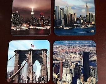 New York Photo Coaster, Hardboard Coaster, Set of 4 Square Coaster with Cork, Sublimated Coaster, Printed Coaster,  Home Decor, Accessories.