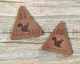 25 PCS Genuine Leather Label Real Leather Label with Holes Triangle Leather Label | Brown Color