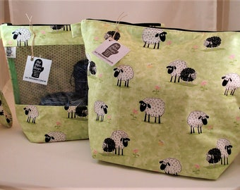 Knitting Project Bag, Zippered Project Bag, Knitting Wedge Bag, Yarn Tote Bag, Yarn Bag, Knitting bag, Sheep in the Meadow