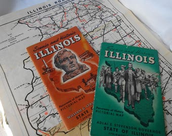 Vintage 1925, 1949 & 1953 Illinois Maps ILL dept. of Public Works and Rand McNally Paper Ephemera 2-pictorial
