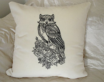 "Stunning decorative cream velvet embroidered handmade cushion pillow  cover home decor 16 x 16"" owl design  art gift  style"