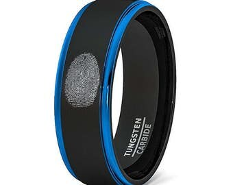 Finger Print Engraved Mens Wedding Band Two Tone Brushed Black Tungsten Ring 8mm Blue Step Edge Comfort Fit