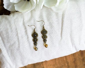 Antique Bronze and Golden Glass Bead Earrings