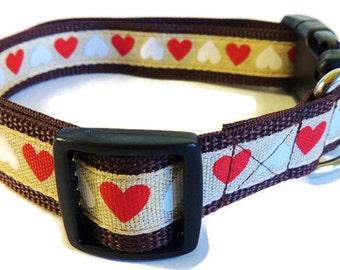 Large Burlap Hearts Dog Collar