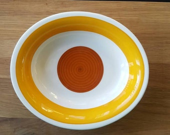 Gefle Stina Designed by H Ringström Swedish Vintage for Gefle Ceramics  Oval ServingBowl Retro Yellow 60s 70s