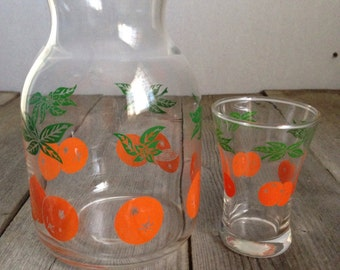 Vintage Quart 0range Juice Pitcher and juice glass