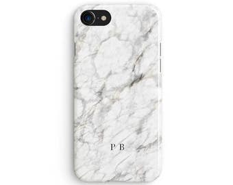 White marble name initials custom - iPhone 7 case, Samsung Galaxy S7 case, iPhone 6, iPhone 7 plus, iPhone SE, iPhone 5S, 1C101B