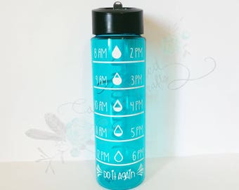 Time tracking water bottle, water intake bottle, custom water bottle, teal water bottle, trendy water bottle, drink your water