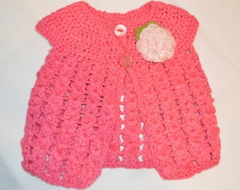 6 - 12 Months Girls' Bright Pink Cardigan