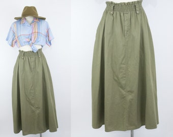 80s Olive Green Maxi Skirt // High Waisted Full Skirt // LizWear Liz Claiborne // Medium // 1980s Vintage Clothing