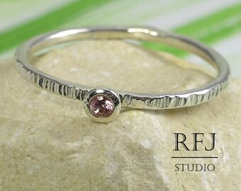 Natural Pink Tourmaline Textured Silver Ring, 2 mm Round Cut October Birthstone Small Texture Ring, Sterling Silver Stacker Tourmaline Ring
