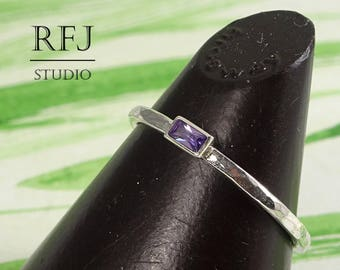 Dainty Baguette Cut Amethyst Silver Hammered Ring, Lab Amethyst February Jewelry 3x1.5 mm Purple Cubic Zirconia Baguette Cut Stackable Ring
