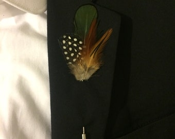 Hand Made Lapel Pin Brooch Natural Feather Breast Pin