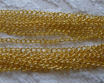 Necklace Chain, 1M/2M Gold Color Curb Open Link Chain, Curb Link Chain, Gold Tone Iron Curb link Chain for Necklaces, Bracelets, DIY Jewelry