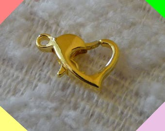 Heart Lobster Clasps, Heart Clasps, 10mm Heart Lobster Claw Clasps, Necklace Connectors, Gold Plated Lobster Clasps