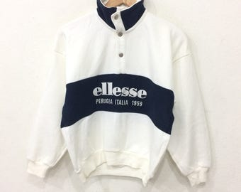 Rare! Vintage 90's ELLESSE Half Button Sweatshirt White Color Medium Size