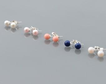 ZOUX077 Stud Earrings/earrings Stud/earing - Swarovski Pearl - Sterling Silver 925
