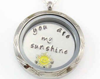 You Are my Sunshine Jewelry, You Are My Sunshine, Hand Stamped, Sterling Silver Necklace, Charm Necklace, Gift for Her, Gift for Women,