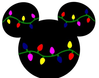 SVG DXF File for Mickey Mouse with Christmas Lights