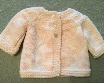 Pink Hand Knit Baby Girl Sweater, Infant, Newborn, Size 0-3 Months, vintage from 80's, Ships to US