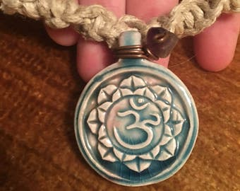 Om Hemp Necklace w/ Amethyst 22""