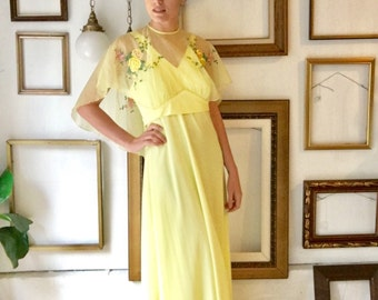 Vintage 60s Canary Yellow Gown with Sheer Embroidered Cape - Free Ship