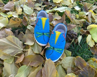 Hand painted dragonfly shoes