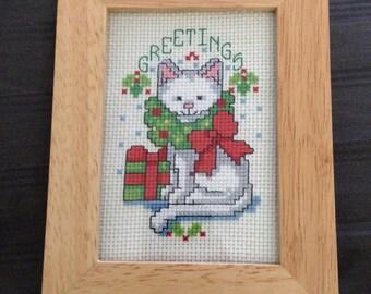 5x6.5 Finished Christmas Cat Cross Stitch