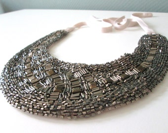 Statement necklace-Abundant beads on fabric