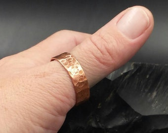 Hammered Copper Band. Copper Ring. Mens Ring Size 15. Copper Anniversary