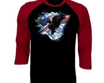 Bald Eagle with Patriotic USA Flag Baseball T-shirt