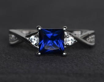 princess cut sapphire ring blue sapphire engagement ring sterling silver ring blue gemstone ring September birthstone