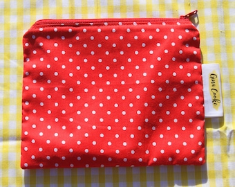 Red Polka Dot Zipper Pouch