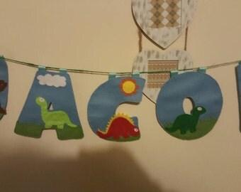 Dinosaur bunting. Personalised bunting for boys. Decor for boys room. Boys dinosaur bunting